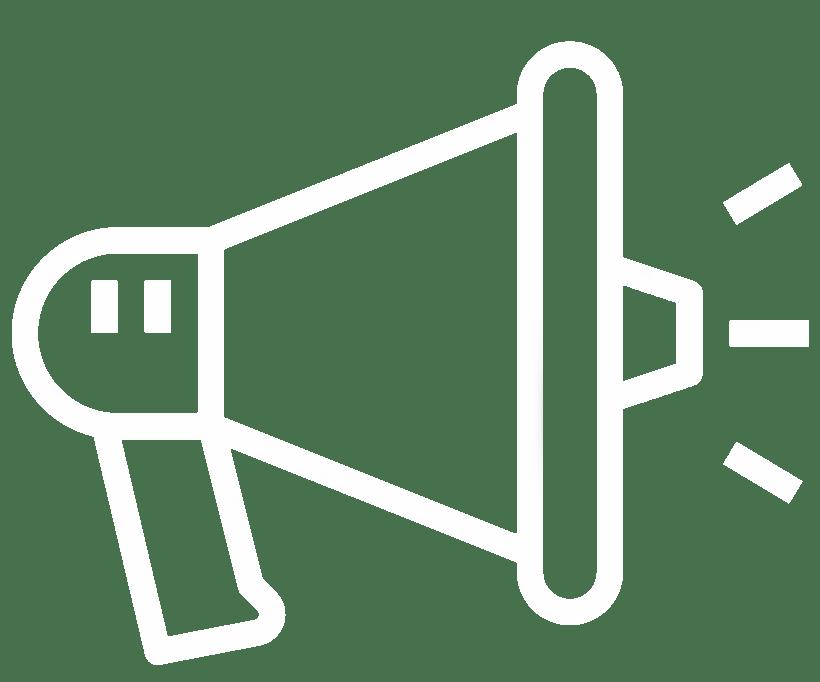 cartoon magaphone announcing services